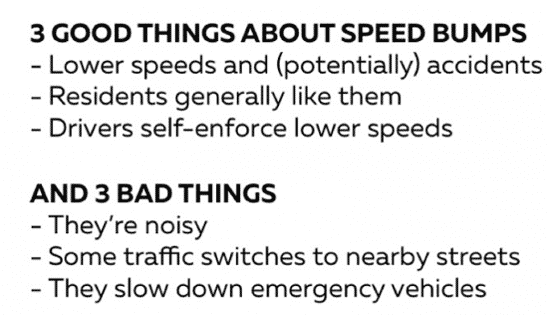 3 good and bad things about speed bumps